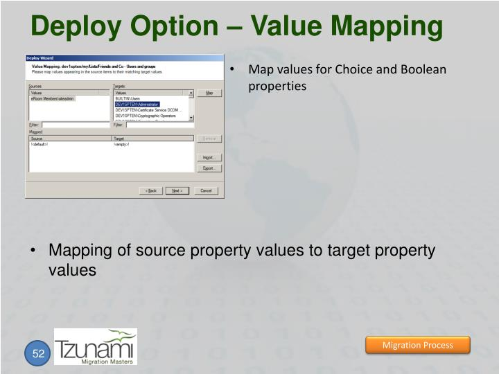 Deploy Option – Value Mapping