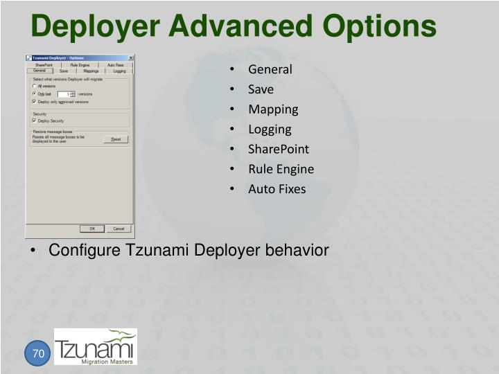 Deployer Advanced Options