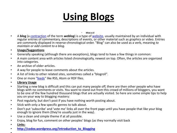 Using Blogs