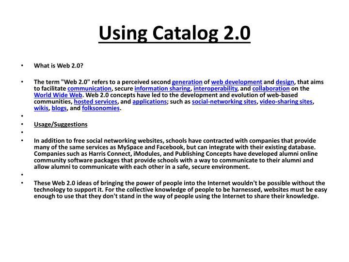 Using Catalog 2.0