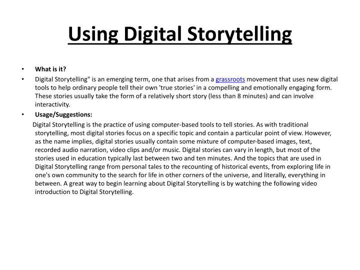 Using Digital Storytelling