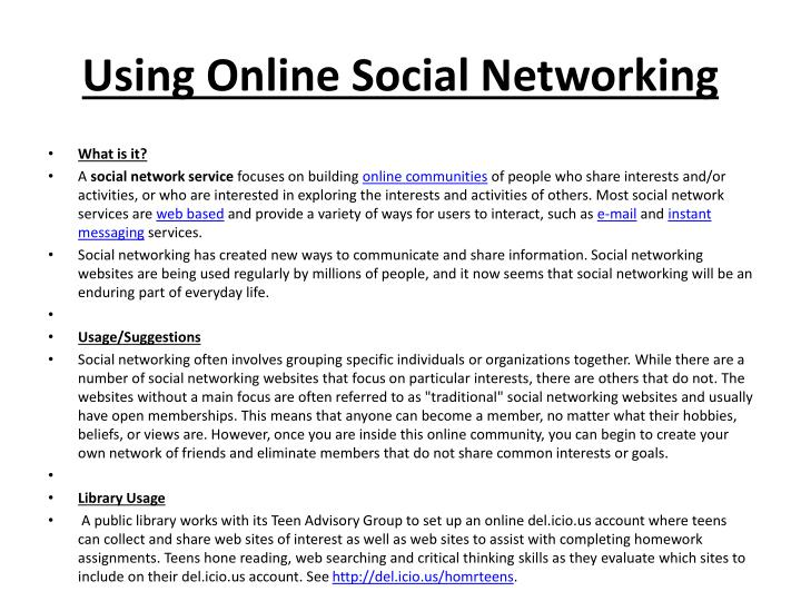 Using Online Social Networking