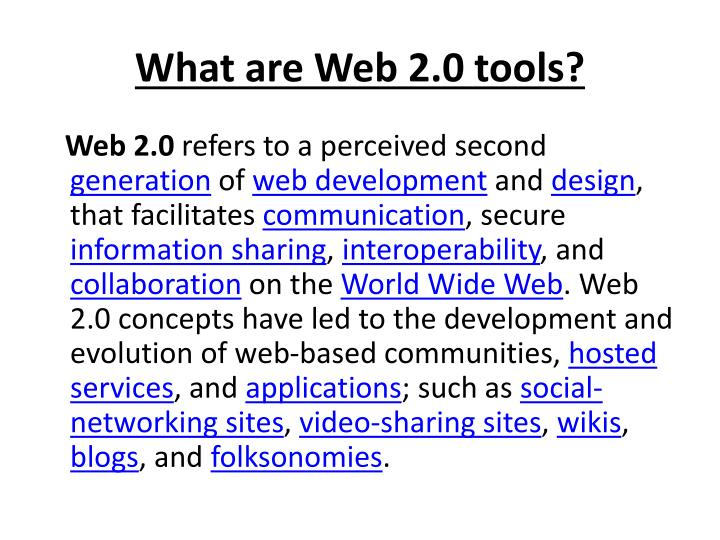 What are web 2 0 tools