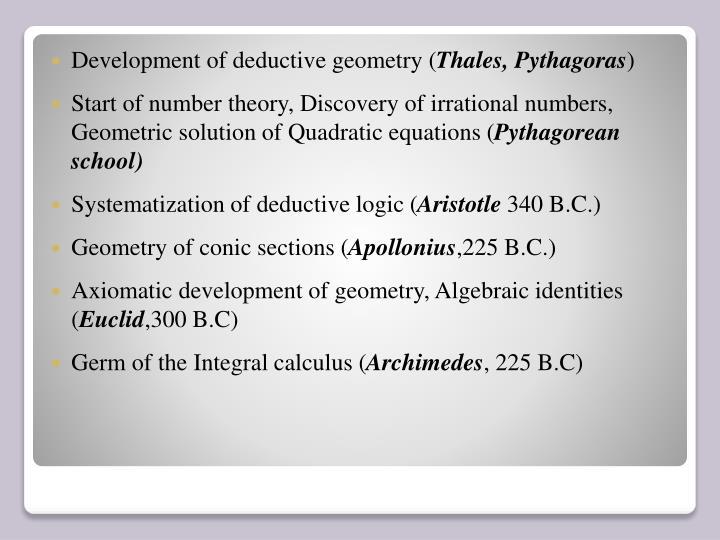 Development of deductive geometry (