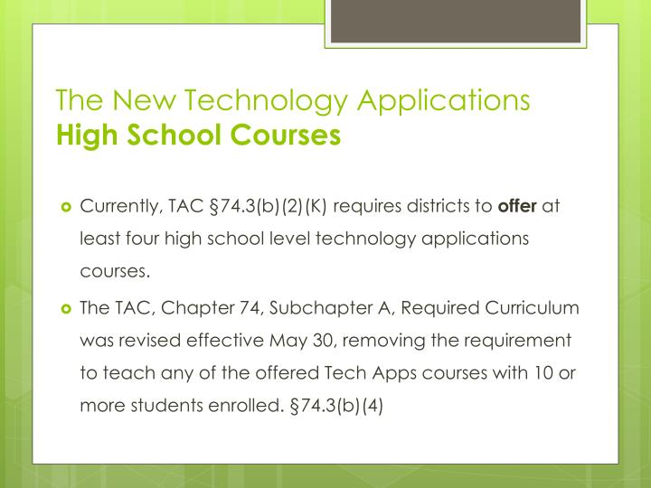 The New Technology Applications