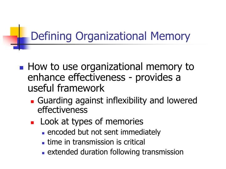 Defining Organizational Memory
