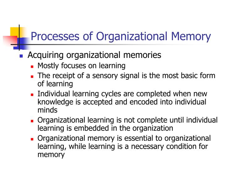 Processes of Organizational Memory