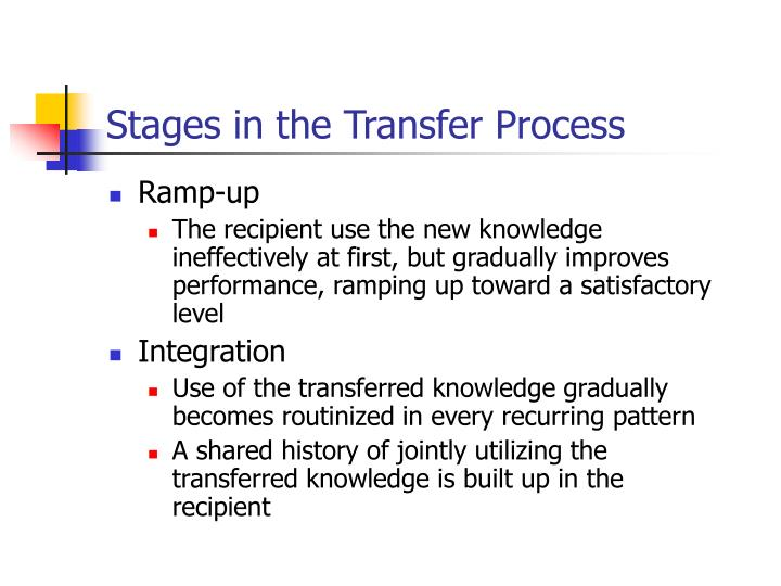 Stages in the Transfer Process