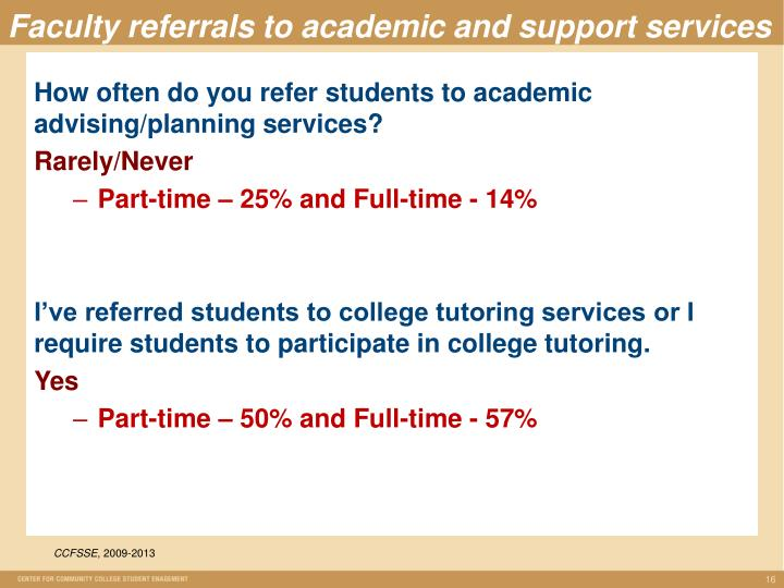 Faculty referrals to academic and support services