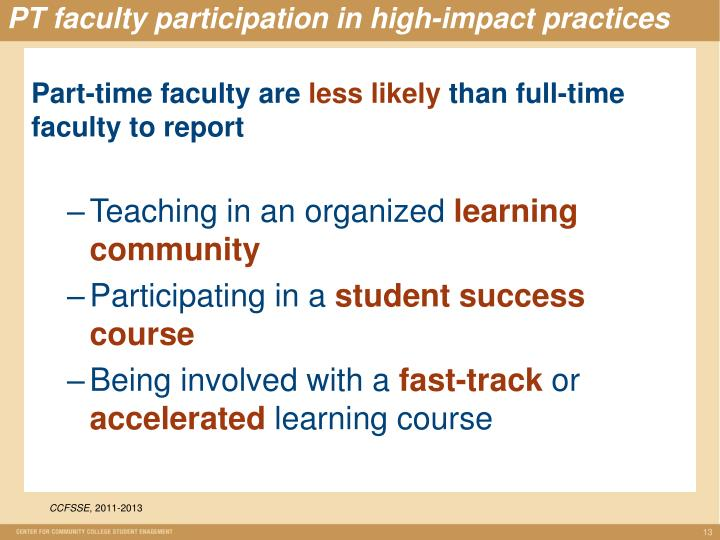 PT faculty participation in high-impact practices