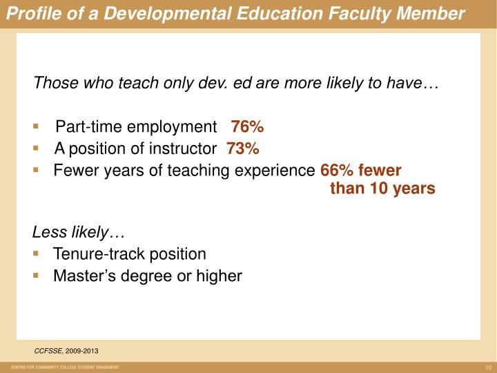 Profile of a Developmental Education Faculty Member