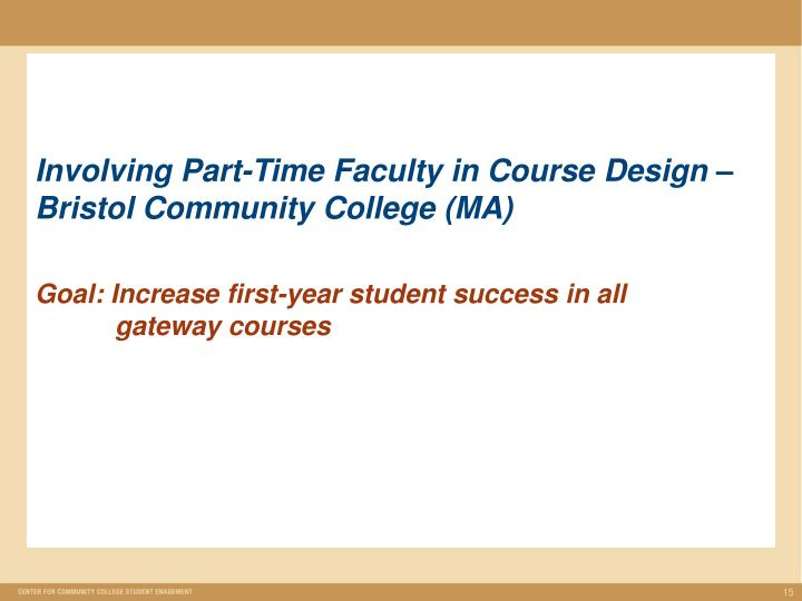 Involving Part-Time Faculty in Course Design – Bristol Community College (MA)
