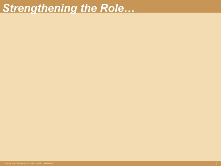 Strengthening the Role…