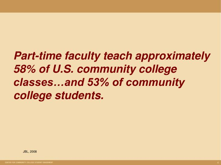 Part-time faculty teach approximately 58% of U.S. community college classes…and 53% of community college students.