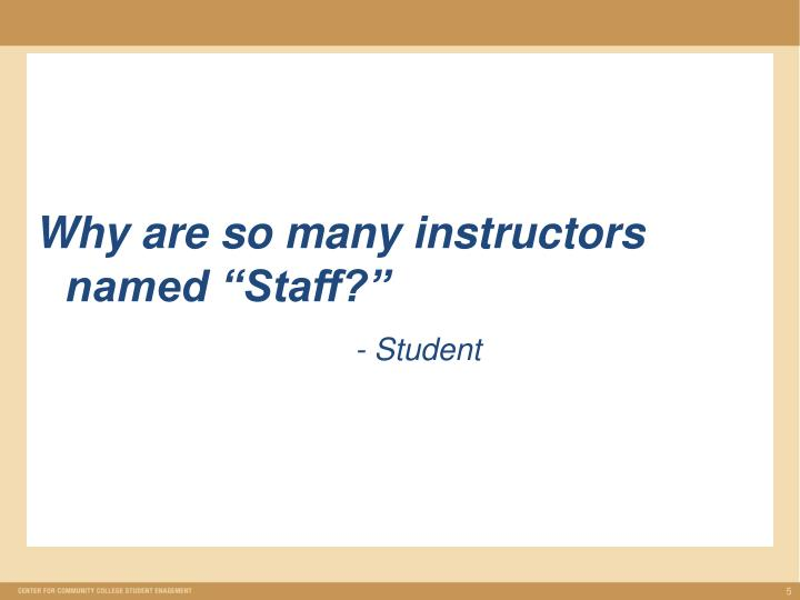 """Why are so many instructors named """"Staff?"""""""