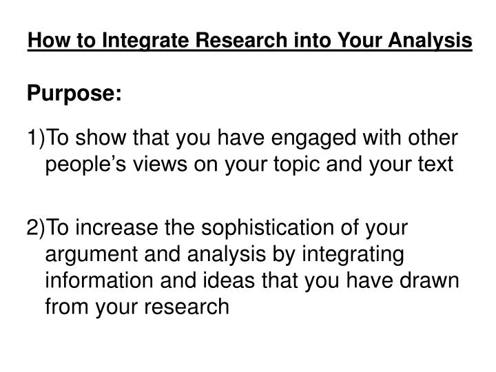 How to integrate research into your analysis