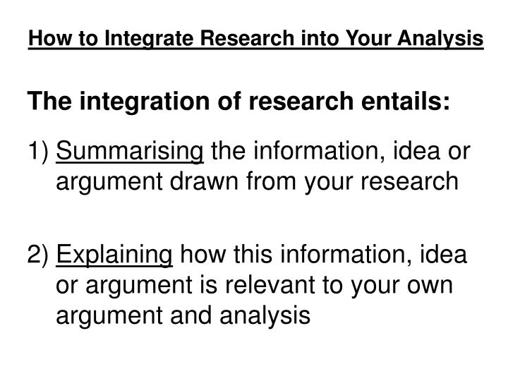 How to integrate research into your analysis1