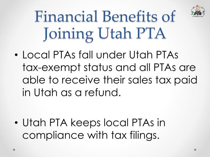 Financial Benefits of Joining Utah PTA