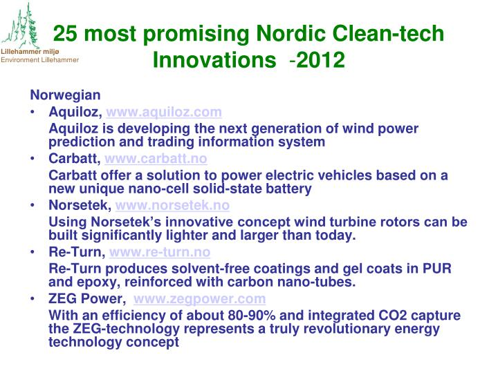 25 most promising Nordic Clean-tech Innovations