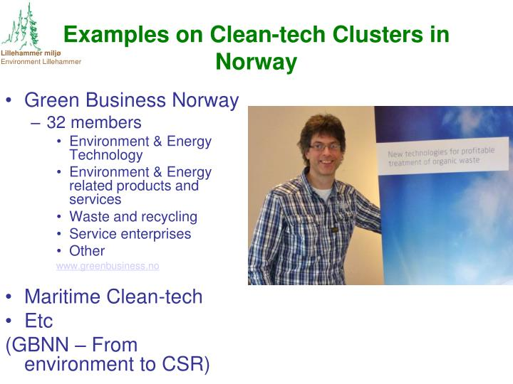 Examples on Clean-tech Clusters in Norway