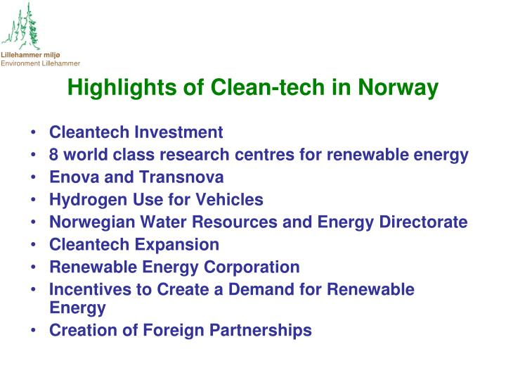 Highlights of Clean-tech in Norway