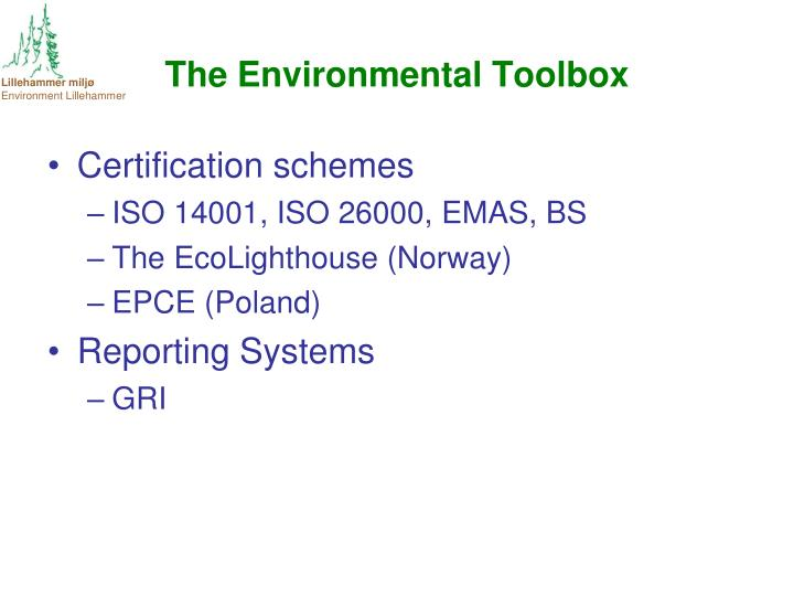 The Environmental Toolbox