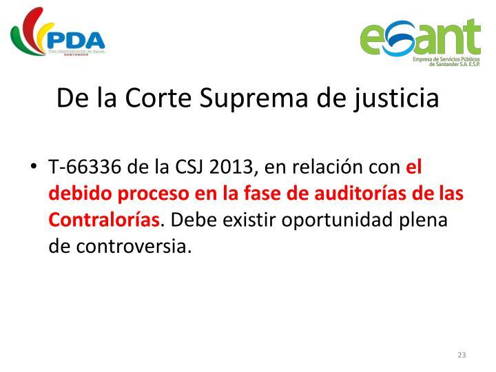De la Corte Suprema de justicia