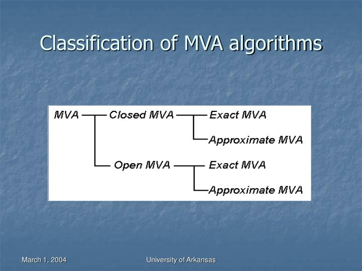 Classification of MVA algorithms