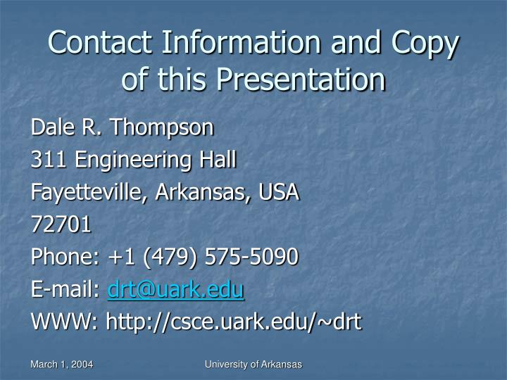 Contact Information and Copy of this Presentation