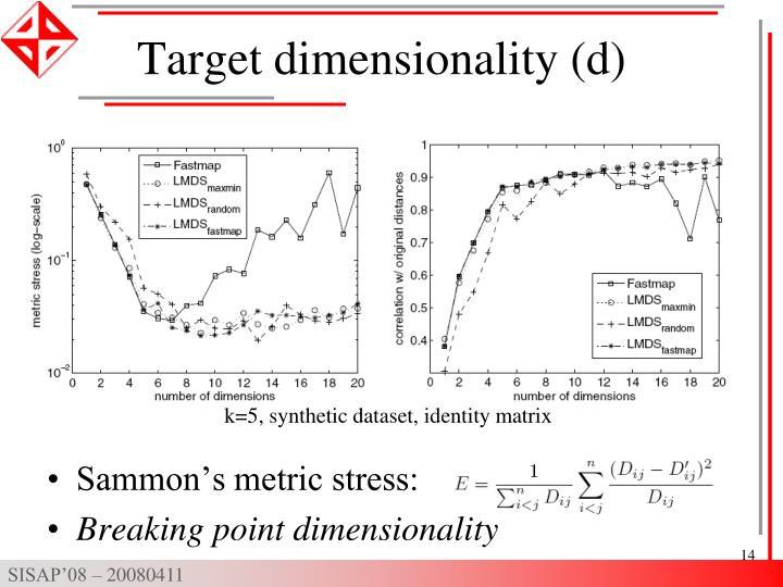 Target dimensionality (d)