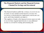 the financial markets and the financial system channel for savings and investment1