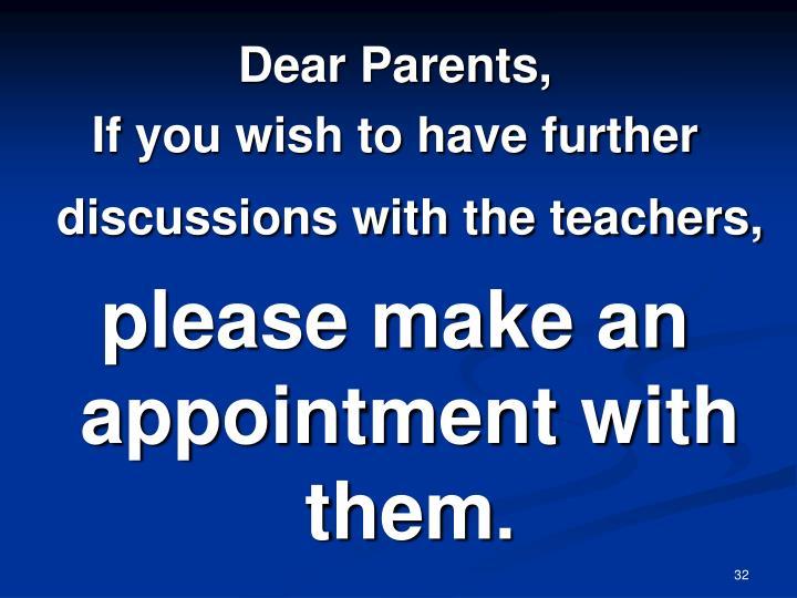 Dear Parents,