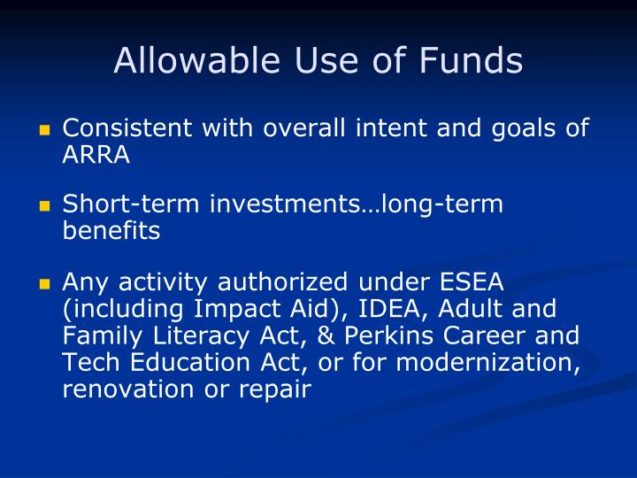 Allowable Use of Funds