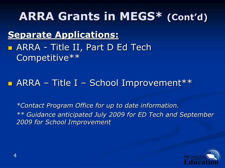 ARRA Grants in MEGS*