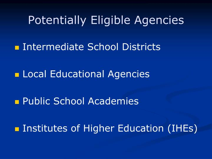 Potentially Eligible Agencies