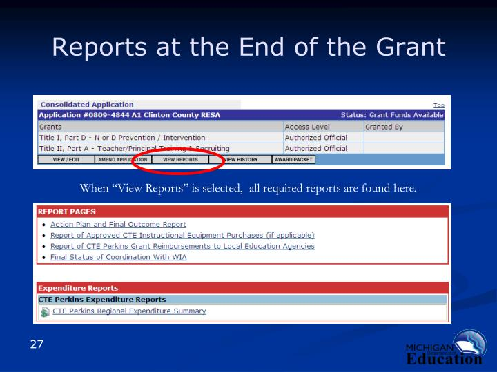 Reports at the End of the Grant