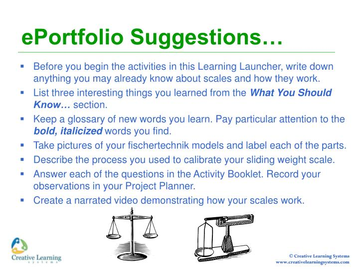 EPortfolio Suggestions…