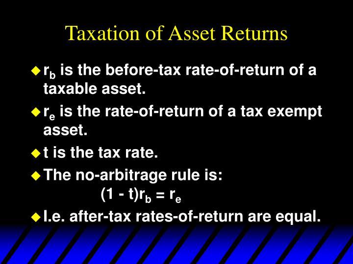 Taxation of Asset Returns