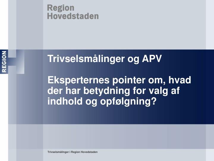 Trivselsmålinger og APV