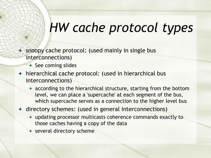 HW cache protocol types