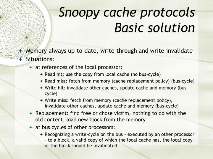 Snoopy cache protocols