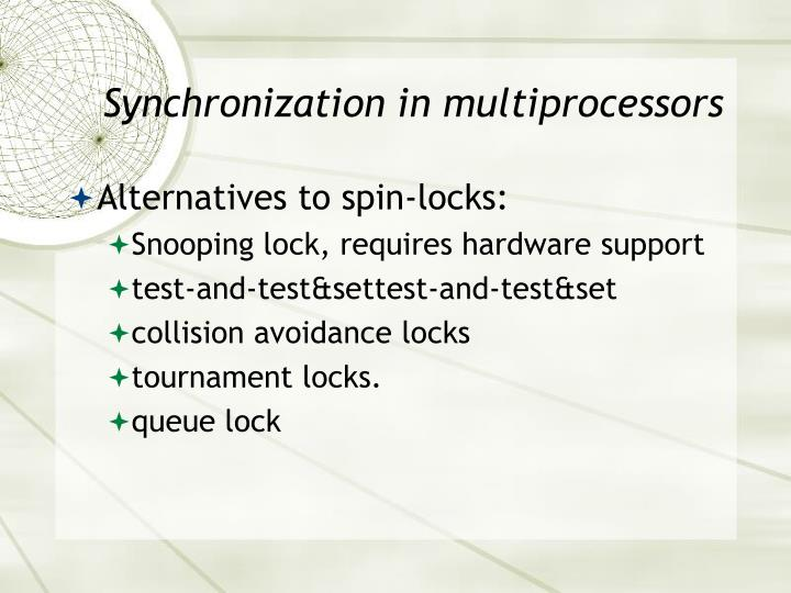 Synchronization in multiprocessors