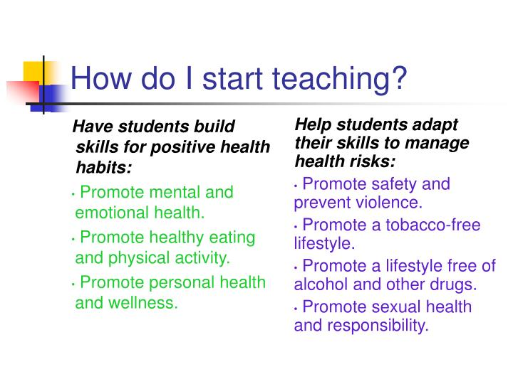 Have students build skills for positive health habits: