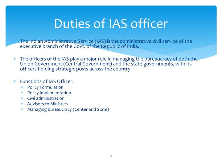 Duties of IAS officer