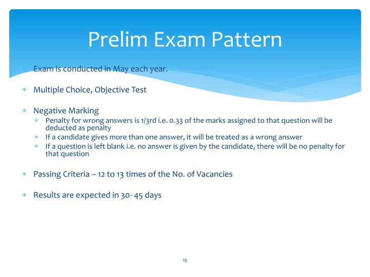 Prelim Exam Pattern