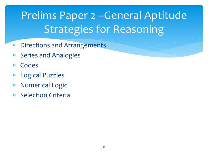 Prelims Paper 2 –General Aptitude Strategies for Reasoning