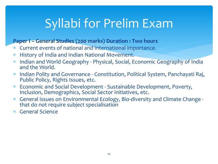 Syllabi for Prelim Exam