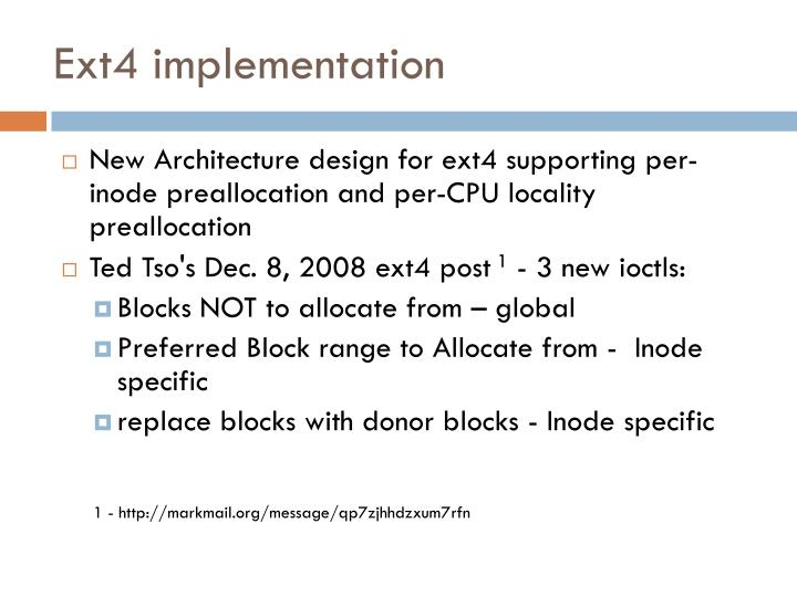 Ext4 implementation
