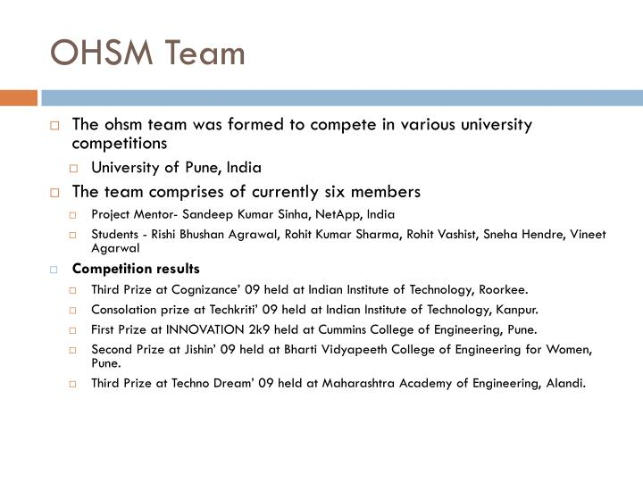 OHSM Team