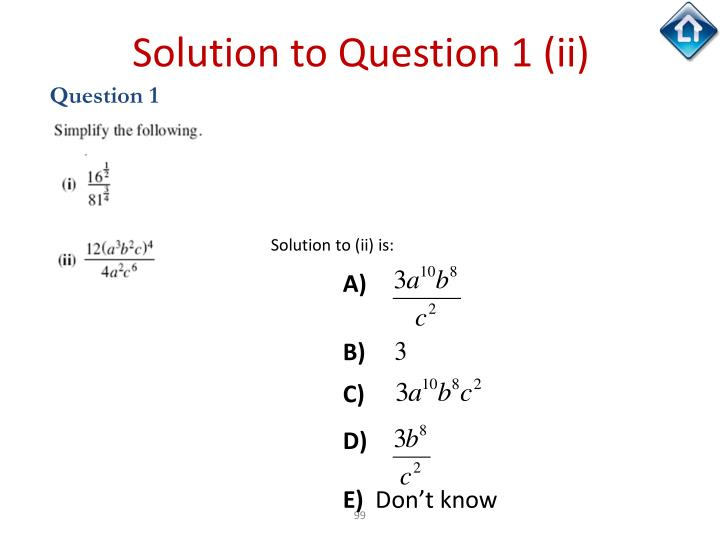 Solution to Question 1 (ii)